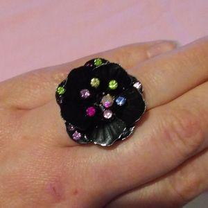 (🌟 3/10,5/15,7/20) Black Flower Ring
